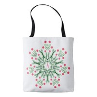 Spring Flowers Ink Drawn Mandala Monogram Tote Bag