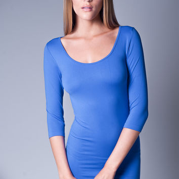 SEAMLESS LONG SLEEVES DRESS IN ELECTRIC BLUE