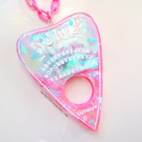 Holographic Pastel Ouija Board Planchette Necklace