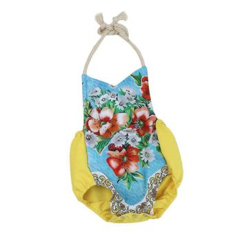 Floral Newborn Baby Girls New Summer Clothes Flower Sleeveless Backless Strap Ro