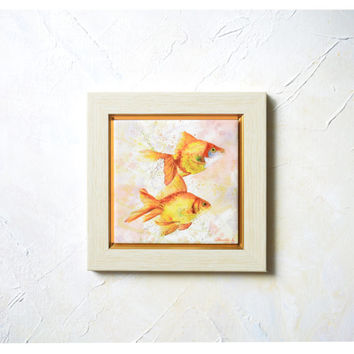 Gold Fishes, Hand Painted Ceramic Tile Wall Art - Painting  watercolour - Sublimation, Home Decor, Fish - SobolevaArt