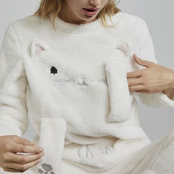 Oysho Cute kitty coral cashmere warm pajamas suit Two-piece