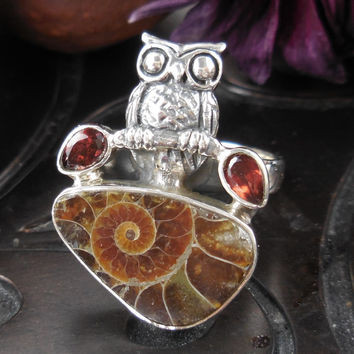Ammonite & Garnet Sterling Silver Owl Ring – Size 6.0