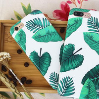 Green leaves phone case for iPhone 7 7plus 6 6S 6plus 6Splus 1109J01