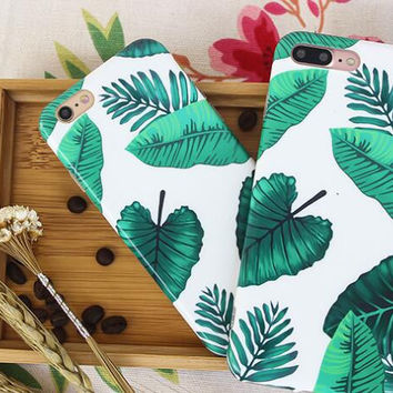 Green leaves phone case for iPhone 7 7plus 6 6S 6plus 6Splus 1107JM01
