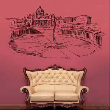 kik2530 Wall Decal Sticker Piazzale Roma and St. Peter's Basilica Italy living room