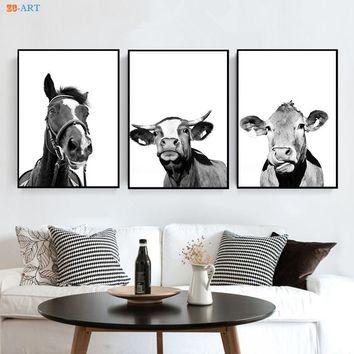 Framed Black and White Wall Art Modern Canvas Painting Farmhouse Animal Poster Horse Cow Giraffe Prints Nursery Decor
