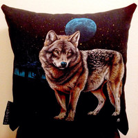 Wolf pillow made from a repurposed graphic tee