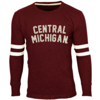 Central Michigan Chippewas Legacy Arch Applique Long Sleeve Slub Crew - Maroon