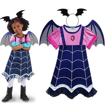 Vampirina Cosplay Costumes Vampire Cosplay Girls Dresses+Hair Hoop+Wing 3PCS Kids Fancy Party Dress For Girl Streetwear Clothes