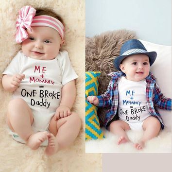 GSCH Baby Romper Infant Mommy Plus Me Equal One Broke Daddy Baby Boys Girls Funny Clothes Short-sleeve Romper Godmother Gift
