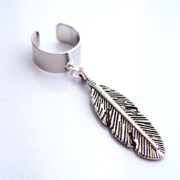 Single Large Feather Earring Cuff