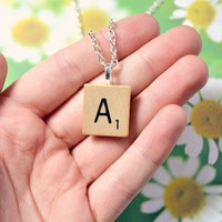 Vintage Scrabble necklace - Bows Jewellery