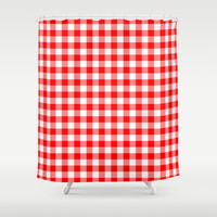 Picnic Red Gingham Shower Curtain by Kat Mun