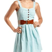 Belted Cotton A-Line Dress: Charlotte Russe