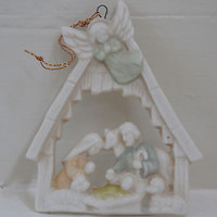 VNTG CHRISTMAS ORNAMENT PORCELAIN NATIVITY SCENE Hand Psinted