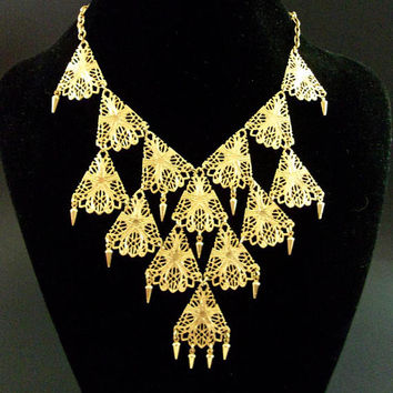 VENDOME Gold Tone Filigree Bib Necklace, Lacy, Dangles, Vintage