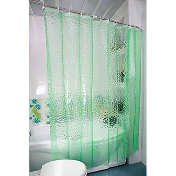 Thickening 15 Silk Transparent 3D Water Cube EVA Shower Curtain Environmental Waterproof And Mildew Blue ,Green, White