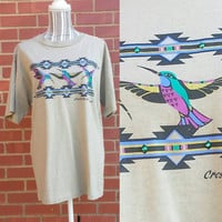 Vintage Aztec TShirt, Crested Butte Colorado Souvenir, Hummingbird, Short Sleeve, Travel, 90s Shirt, Hipster Clothing, Boho Top, Turquoise