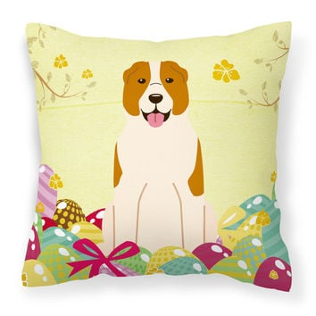Easter Eggs Central Asian Shepherd Dog Fabric Decorative Pillow BB6049PW1818