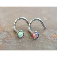 White Opal and Pink Fire Opal Corkscrew Nose Piercing Ring Stud
