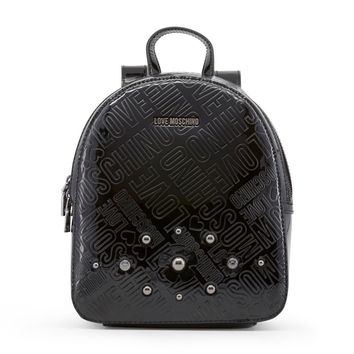 Love Moschino Black Studs Appliques Rucksack Backpack
