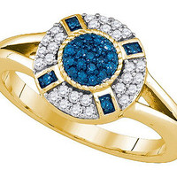 Blue Diamond Fashion Ring in 10k Gold 0.39 ctw
