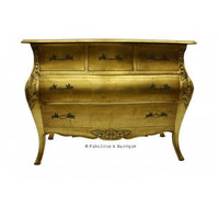 Fabulous & Baroque ? Bordeaux Bombay Chest of Drawers - Gold Leaf