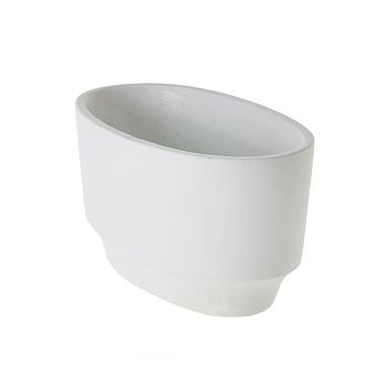 Outdoor Planters - White Cement Boat Planter