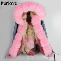 Gray pink silver black coats natural fox fur parka detachable real fur jackets warm thick hooded parkas winter jacket women coat