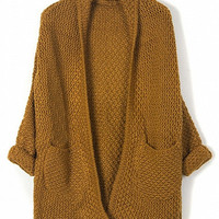 Brown Lapel Pocket Detail Long Sleeve Knit Cardigan