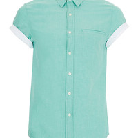 LIGHT GREEN SHORT SLEEVE OXFORD SHIRT - Mens Shirts - Clothing - TOPMAN USA