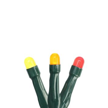 Set of 15 Orange  Red & Yellow Micro LED Thanksgiving Lights - Green Wire
