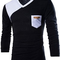 jeansian Men's Fashion Stitching V-Neck Long Sleeves T-shirts Tees Tops D618