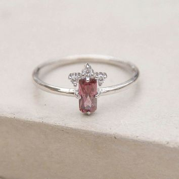 Baguette Crown Ring - Silver + Pink