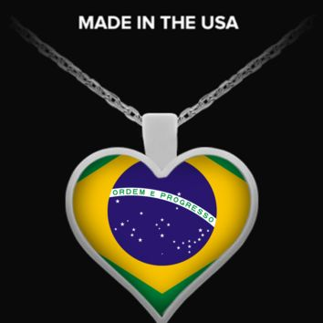 Brazil Flag Heart Necklace