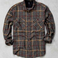OBEY Peak Marled Plaid Flannel Button-Down Shirt