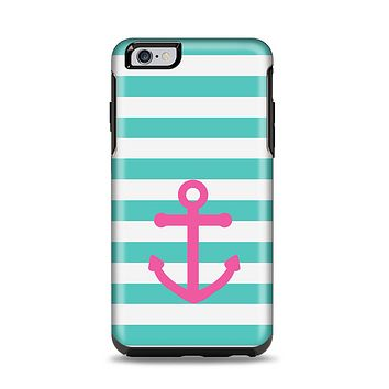 The Teal Striped Pink Anchor Apple iPhone 6 Plus Otterbox Symmetry Case Skin Set
