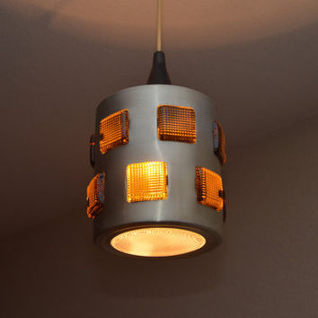 Very rare ceiling pendant lamp light made aluminium with inlaid glass from Sweden in the style of Erik Höglund, 1960s