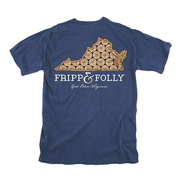 Virginia Shotgun Shell Tee in True Navy by Fripp & Folly