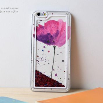 LMFEJ6 Lotus Dynamic Liquid Red Glitter Sand Quicksand Star Bling Clear iPhone 6 Plus case Phone Case
