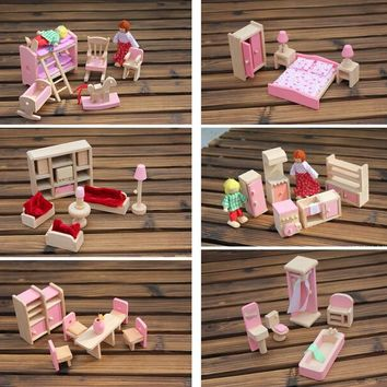 6 set style Funny Kids Pretend Role Wooden Toy Dollhouse Nursery Room dining room living romm Miniature Furniture