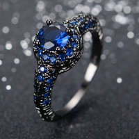 Fashion Blue Sapphire Female Ring Wedding Band Black Gold Filled Jewelry Promise Engagement Rings For Women Bague Femme RB0034