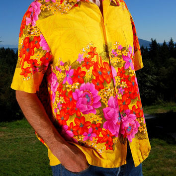Vintage 60s Hawaiian Togs Colorful Bark Cloth Hawaiian Shirt Mens Large Bright Neon Floral Groovy Loop Collar Aloha Shirt Yellow Pink Coral