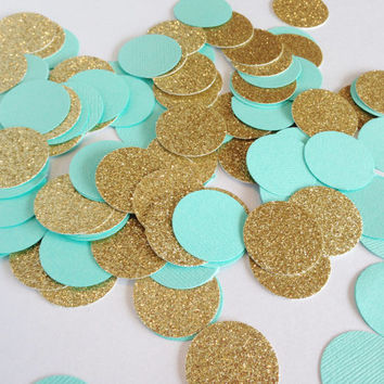 "100 Aqua / Gold Glitter - 1 Inch - 1"" - Confetti for weddings, birthdays, parties and more!"