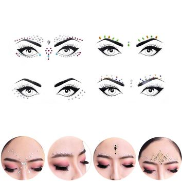 1 Sheet Jewel Eyes Makeup Crystal Eyes Sticker Tattoo Diamond Makeup Eyeliner Party Eyeshadow Face Sticker Decoration Cosmetic