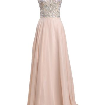 Meibida Women's Elegant V-Back Rhinestones and Beaded Floor Length Prom Dresses