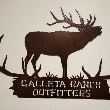 Customizable Elk with Antlers Sign Large Metal Wall Art Country Rustic Decor