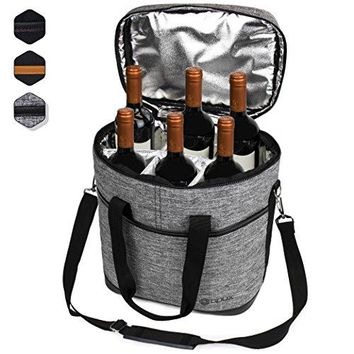 Premium Insulated 4 Bottle Wine Carrier Tote Bag | Wine Travel Bag with Shoulder Strap and Padded Protection | Wine Cooler Bag Brown