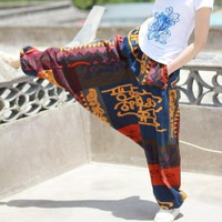 Gypsy Hippie Aladdin Hmong Baggy Black Harem Pants Men Women One Size Hammer Trousers New Boho Casual Pants Cross Pants